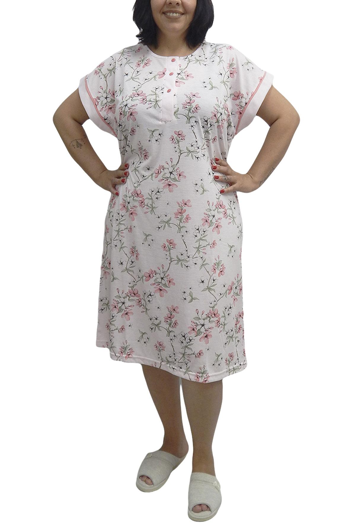 Camisola Manga Curta Semi Aberta com Estampa Floral - Rosemari