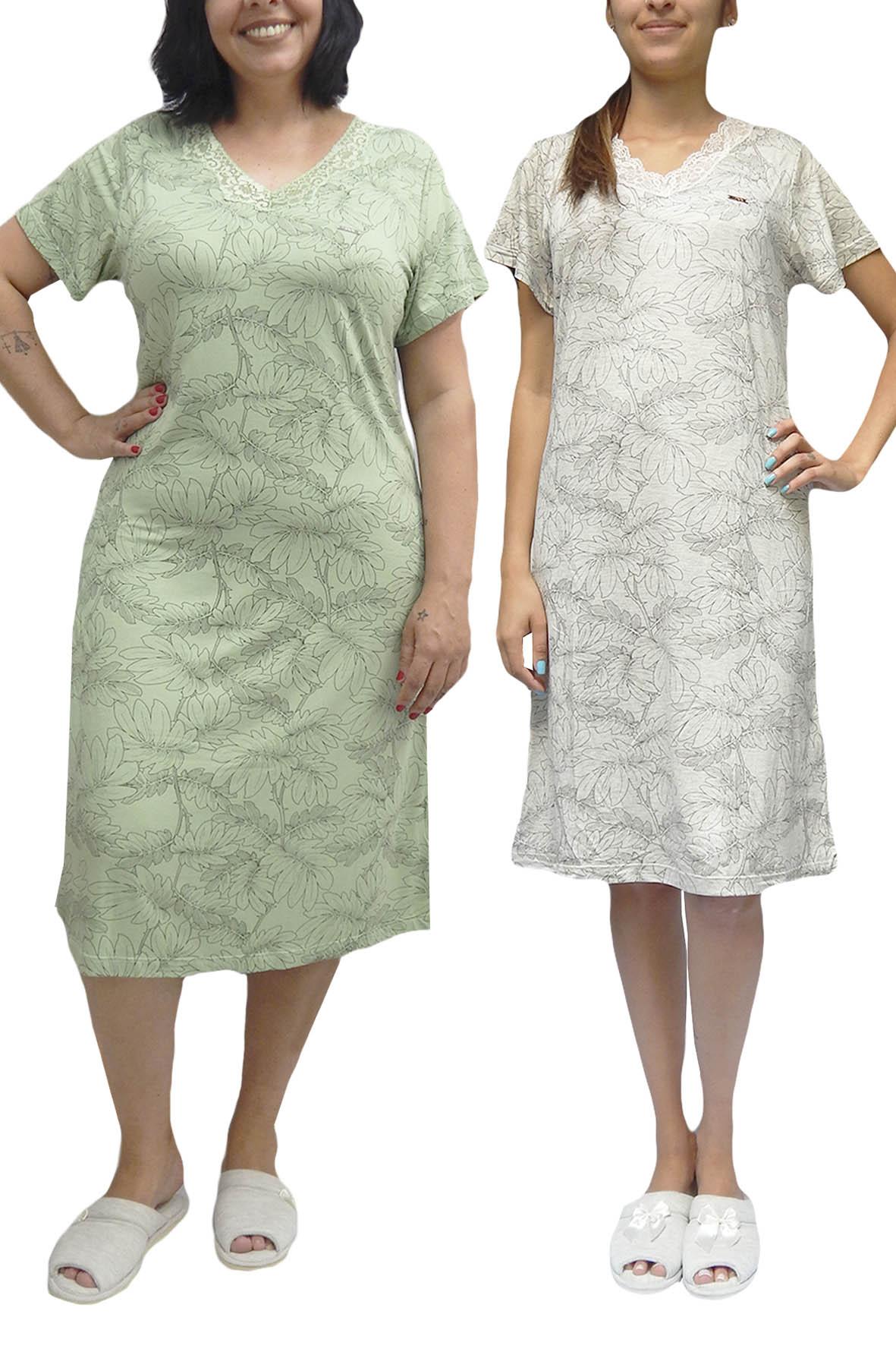Camisola Manga Curta Fechada com Estampa de Folhas Gola Rendada Decote V - TAM 42 ao 54 - Foxx