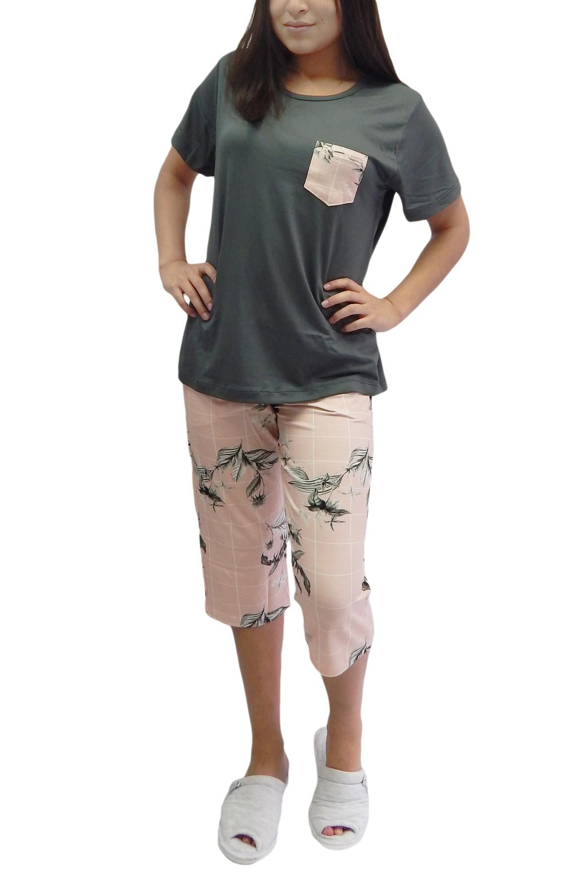 Pescador ou Pijama Capri em Visco Manga Curta Floral  Foxx 263363
