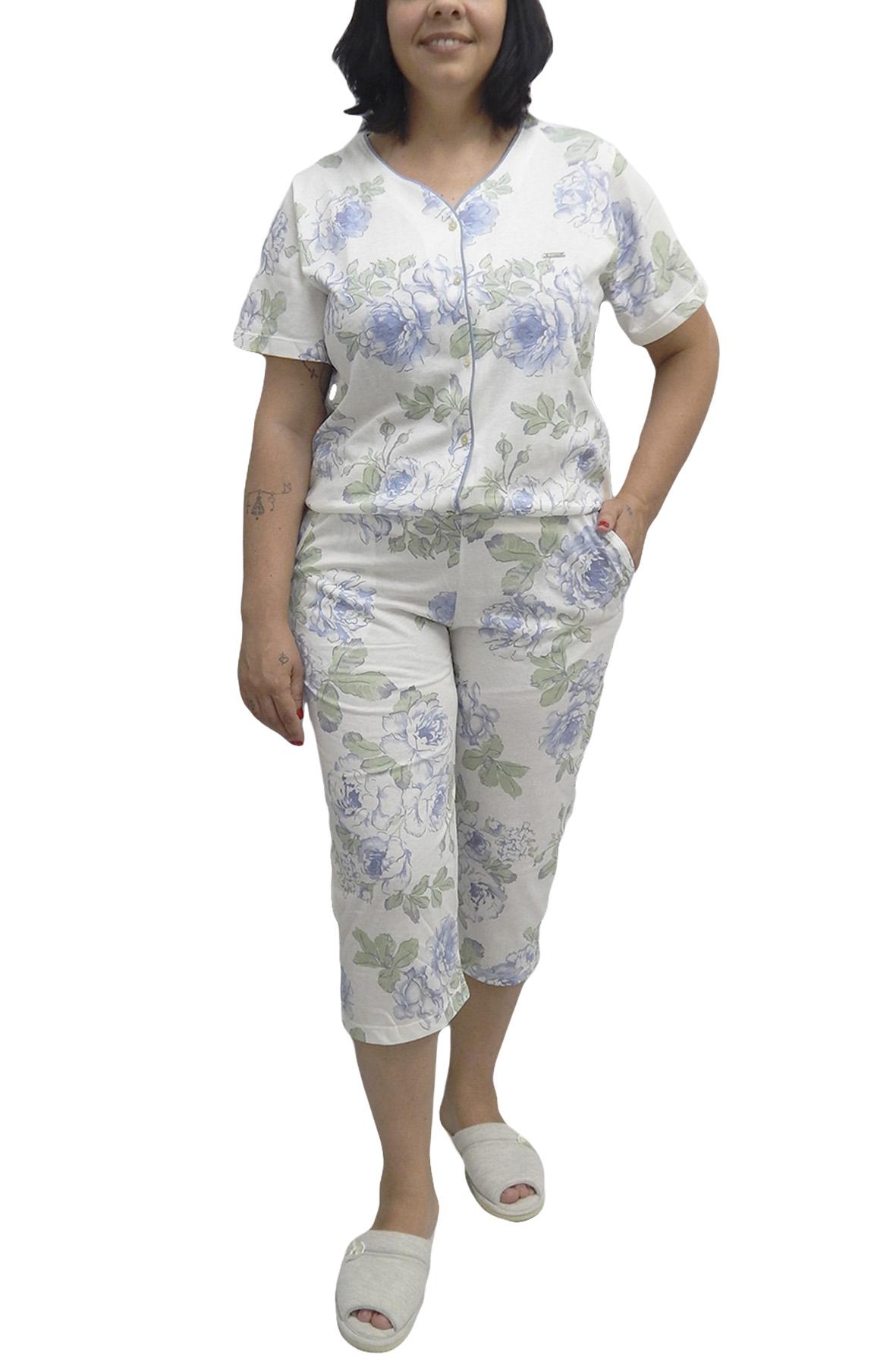 Pescador ou Pijama Capri Manga Curta Aberto em Algodão Estampado com Flores - TAM 42 ao 52 - Foxx