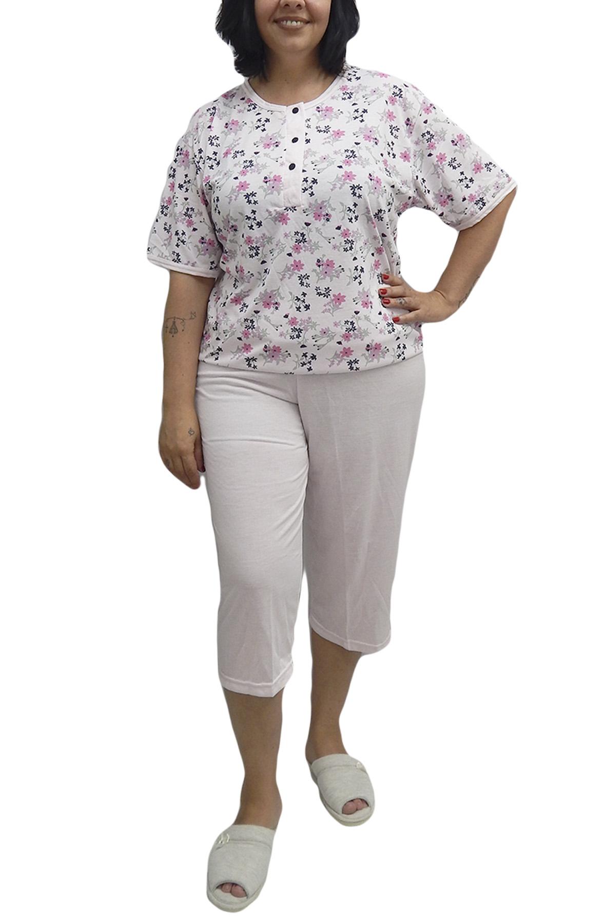 Pescador ou Pijama Capri Manga Curta Semi Aberto com Estampa de Flores e Capri Lisa - Rosemari