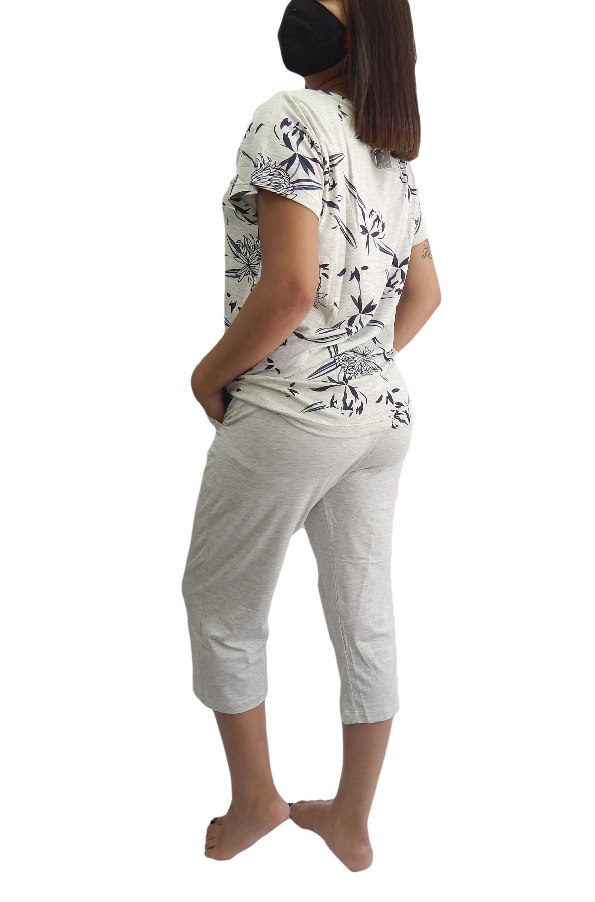 Pijama Capri Pescador em Viscolycra  com Estampa Diferenciada e Discreta - Foxx