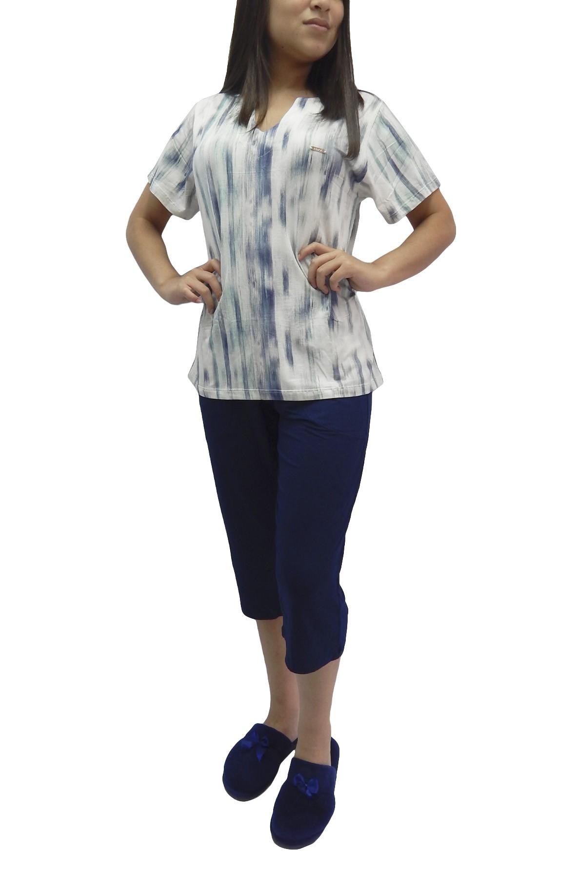 Pijama Capri Pescador Tecido em Visco Estampa Diferenciada - Foxx   263366