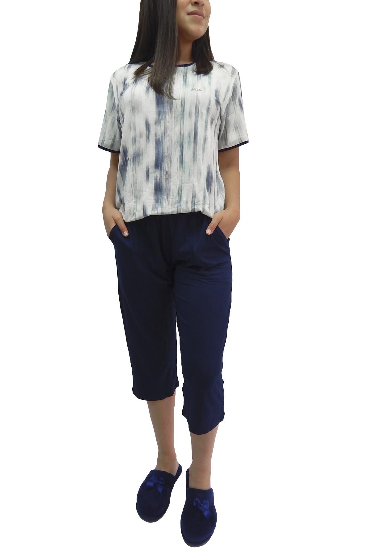 Pijama Capri Pescador Tecido em Visco Estampa Diferenciada - Foxx  263367