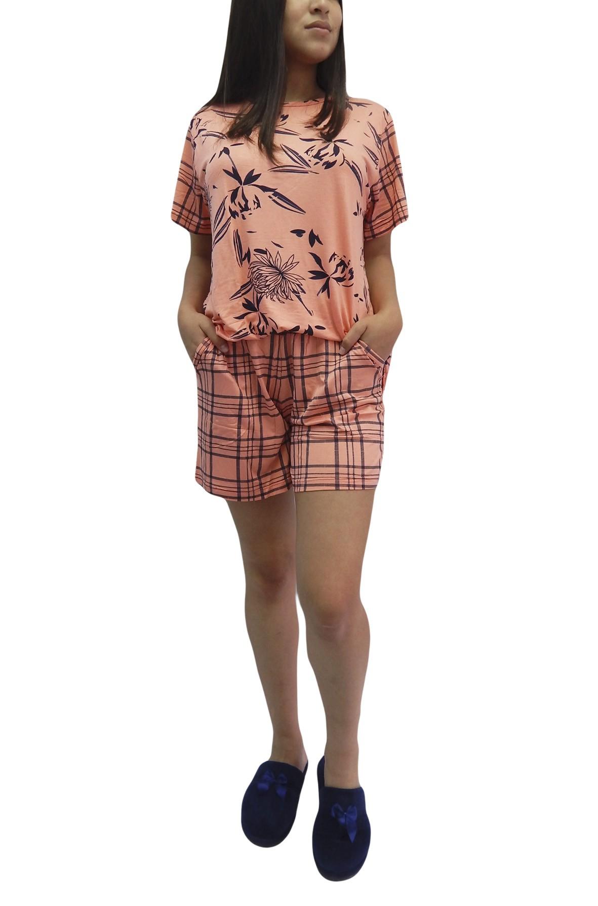 Pijama Feminino de Manga Curta em Visco Estampada Composê -Foxx  263358