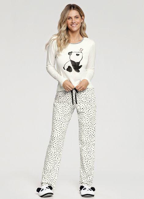 Pijama Feminino Estampado de Algodão 10849 Cor com Amor 193082