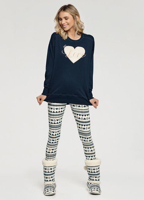 Pijama Feminino Estampado de Algodão 10928 Cor com Amor 193089