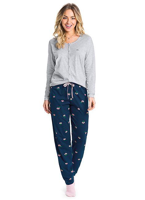 Pijama Feminino Estampado em Algodão 52469 Malwee Liberta 088023