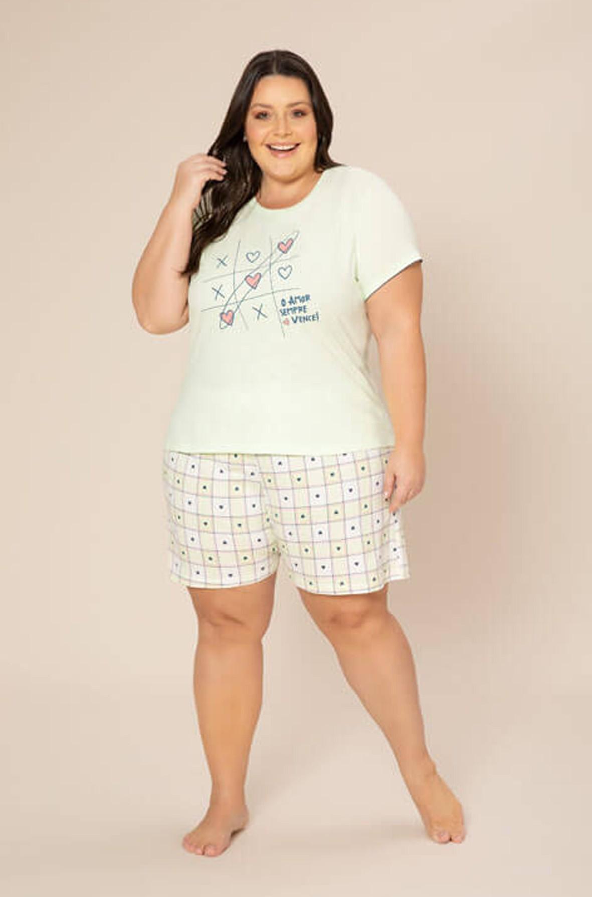 Pijama Feminino Jovem Plus Size 100% Algodão Manga Curta com Bermuda  - Pzama 090072