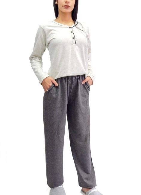 12702d8ab Pijama Feminino Longo de Algodão Básico Foxx 262515