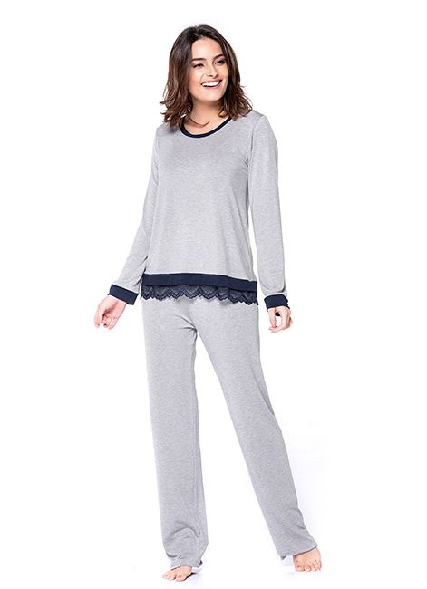 Pijama Feminino Longo em Viscose Detalhe em Renda Podiun 233020