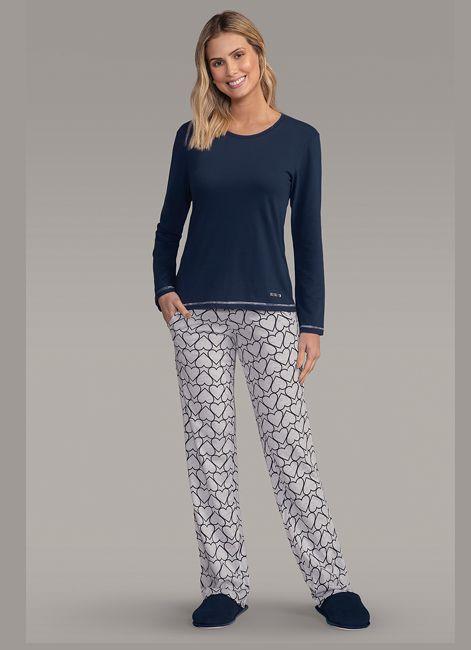 9b9b8e66c Pijama Feminino Longo Estampado com Bolsos Lua Encantada