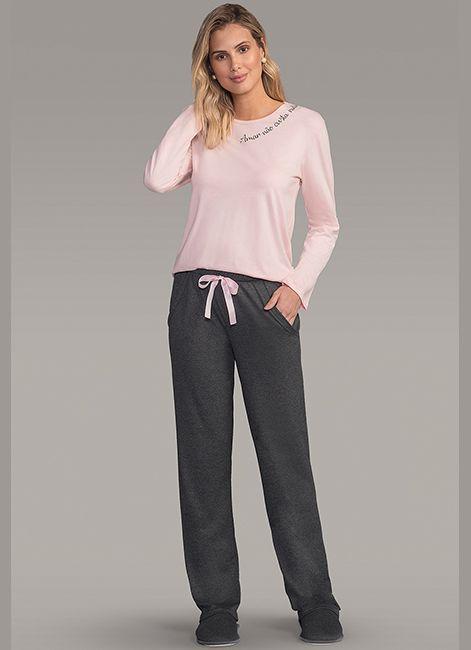 a060f4c48 Pijama Feminino Longo Estampado com Bolsos Lua Encantada 187047
