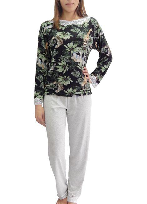 da533bb47 Pijama Feminino Longo Estampado detalhe de renda Foxx - Intimitat