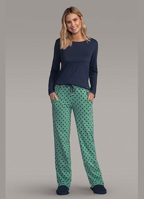 e46591847 Pijama Feminino Longo Estampado em Algodão com Bolsos Lua Encantada 187055