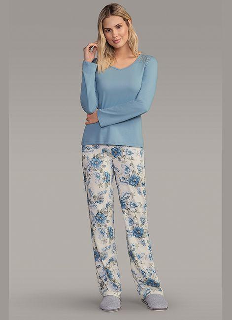 b6dbe8053 Pijama Feminino Longo Estampado em Algodão detalhe em Renda Lua Encantada
