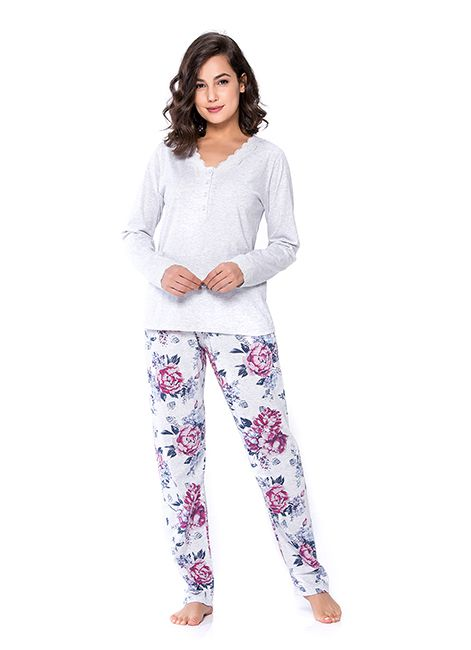 Pijama Feminino Longo Estampado em Algodão Detalhe em Renda Podiun  233023