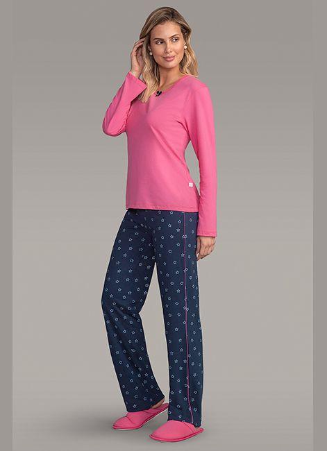 aceab5b76 Pijama Feminino Longo Estampado em Algodão Lua Encantada