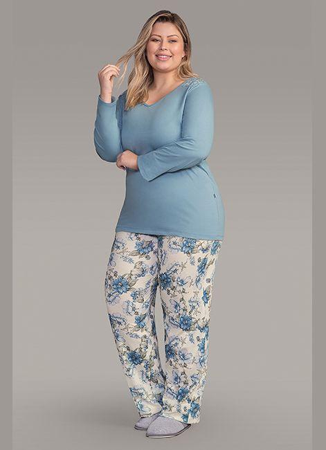 179dcf530 Pijama Feminino Longo Estampado Plus Size detalhe em Renda Lua Encantada  187052