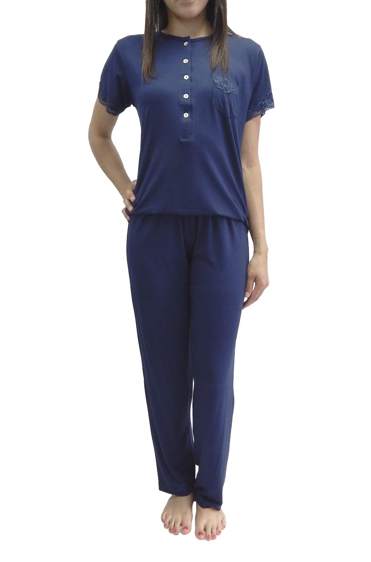 Pijama Feminino Manga Curta Calça Comprida Básico Com Renda - Foxx