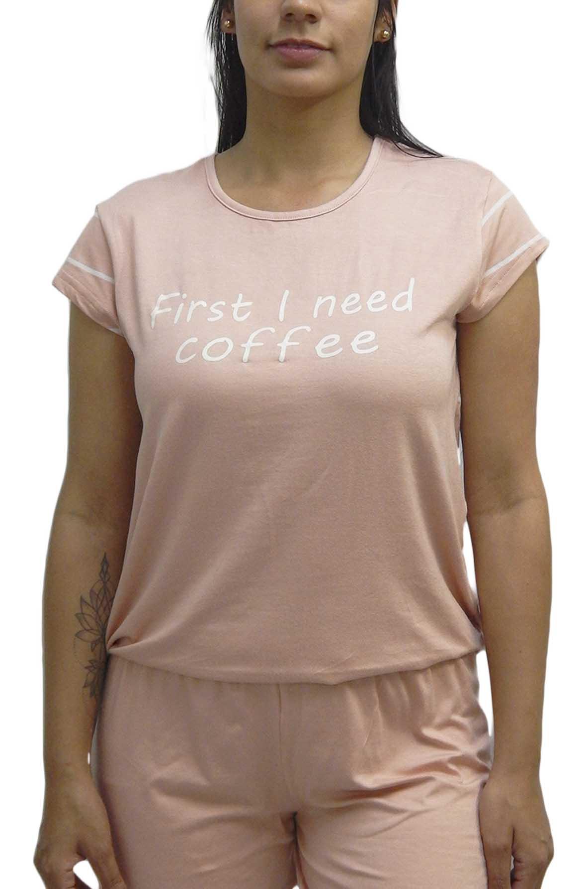 Pijama Feminino Manga Curta com Bermuda Estampa ''First I Need Coffee'' (Primeiro Eu Preciso De Café) - Rosemari