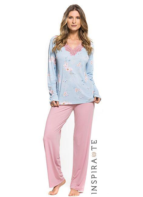 b6d465175 Pijama Feminino Manga Longa Estampado Under Co 001445