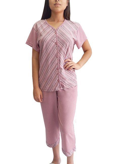 Pijama Feminino Pescador Clássico Plus Size Capri com Abertura Botões Rosemari 048117