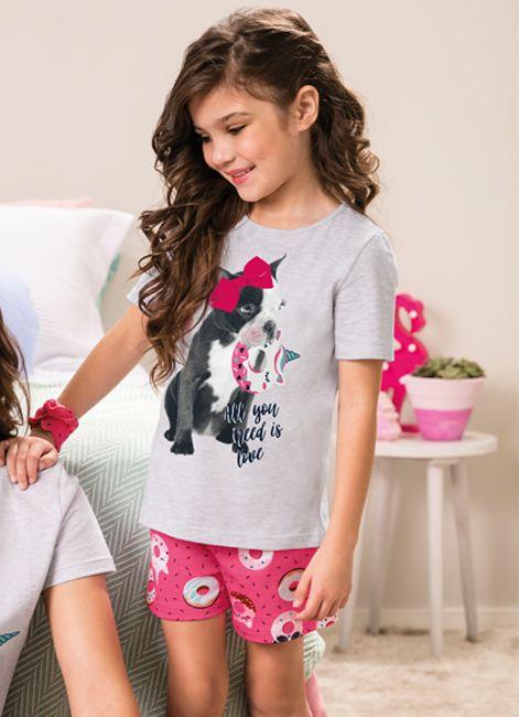 b268a44d4cdc0 Pijama Infantil Curto de Menina com Estampa Malwee 088013