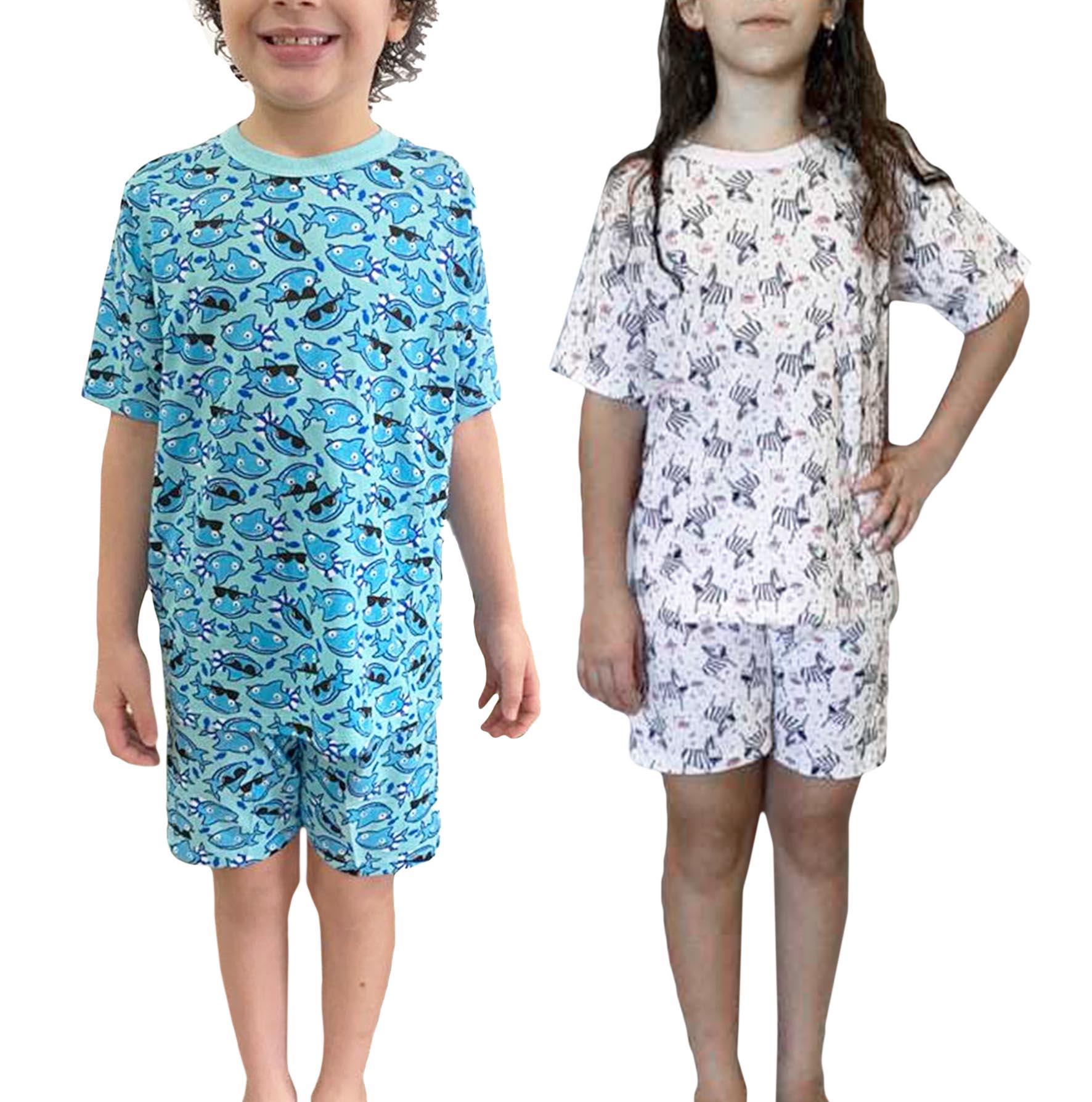 Pijama Infantil Verão 100% Algodão - Estampas divertidas - Tamanho 10 a 16 - Mafessoni