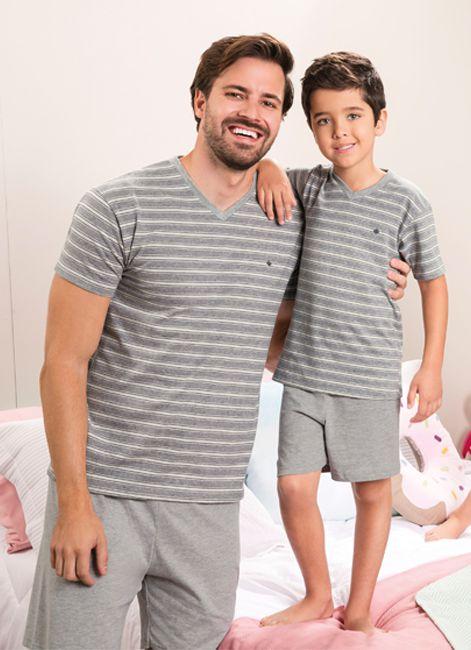 adaacdbd9ab9b Pijama Infantojuveil de Verão em Algodão Listrado Malwee 088018