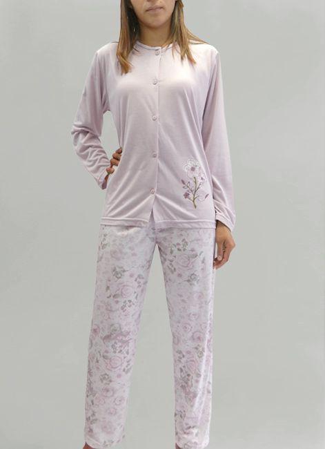 baa4fcd81 Pijama Manga Longa Aberto em Malha Rosemari 048074