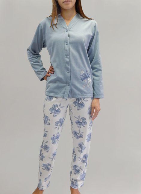 Pijama Manga Longa Aberto em Moletinho Rosemari  048094