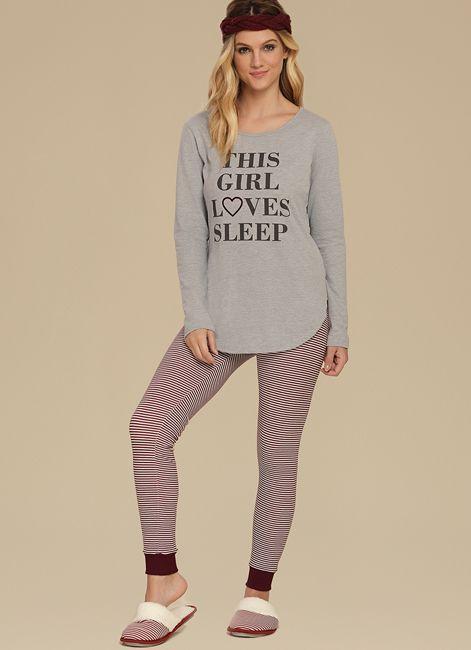 Pijama Manga Longa de Algodão com Legging e Punho Cor com Amor 10596 519ecc2dbca
