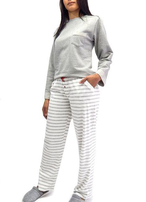 11e11ea1a Pijama Manga Longa de Moletom com Bolsos - Homewear Foxx 262170