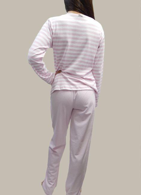 Pijama Manga Longa Listradinho 100% Algodão Foxx 262201
