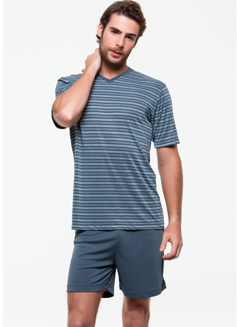Pijama Masculino Curto Listrado de Liganete Foxx 320038