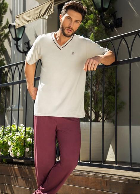 Pijama Masculino de Algodão Manga Curta com Calça Pzama 052078
