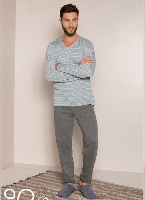 a75b30238 Pijama Masculino Longo Listrado 60009 Pzama 052272