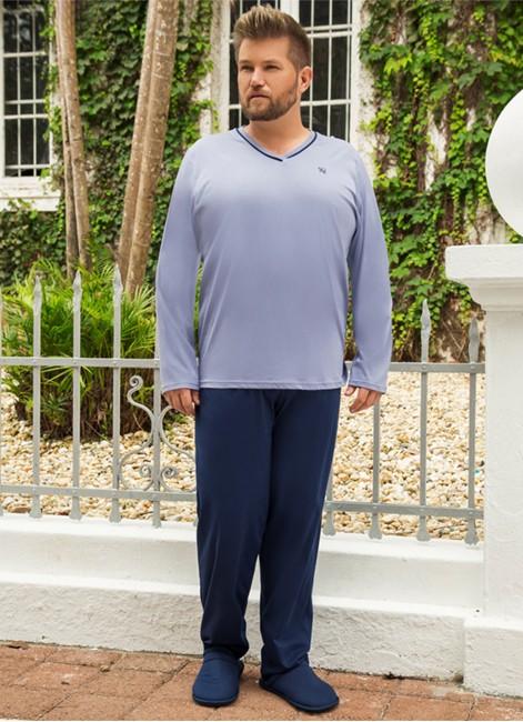 a67da71f0 Pijama Masculino Longo Plus Size em Algodão Pzama 052083