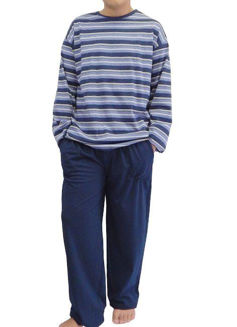Pijama Masculino Manga Longa Plus Size 100% Algodão Estampado Foxx 262547