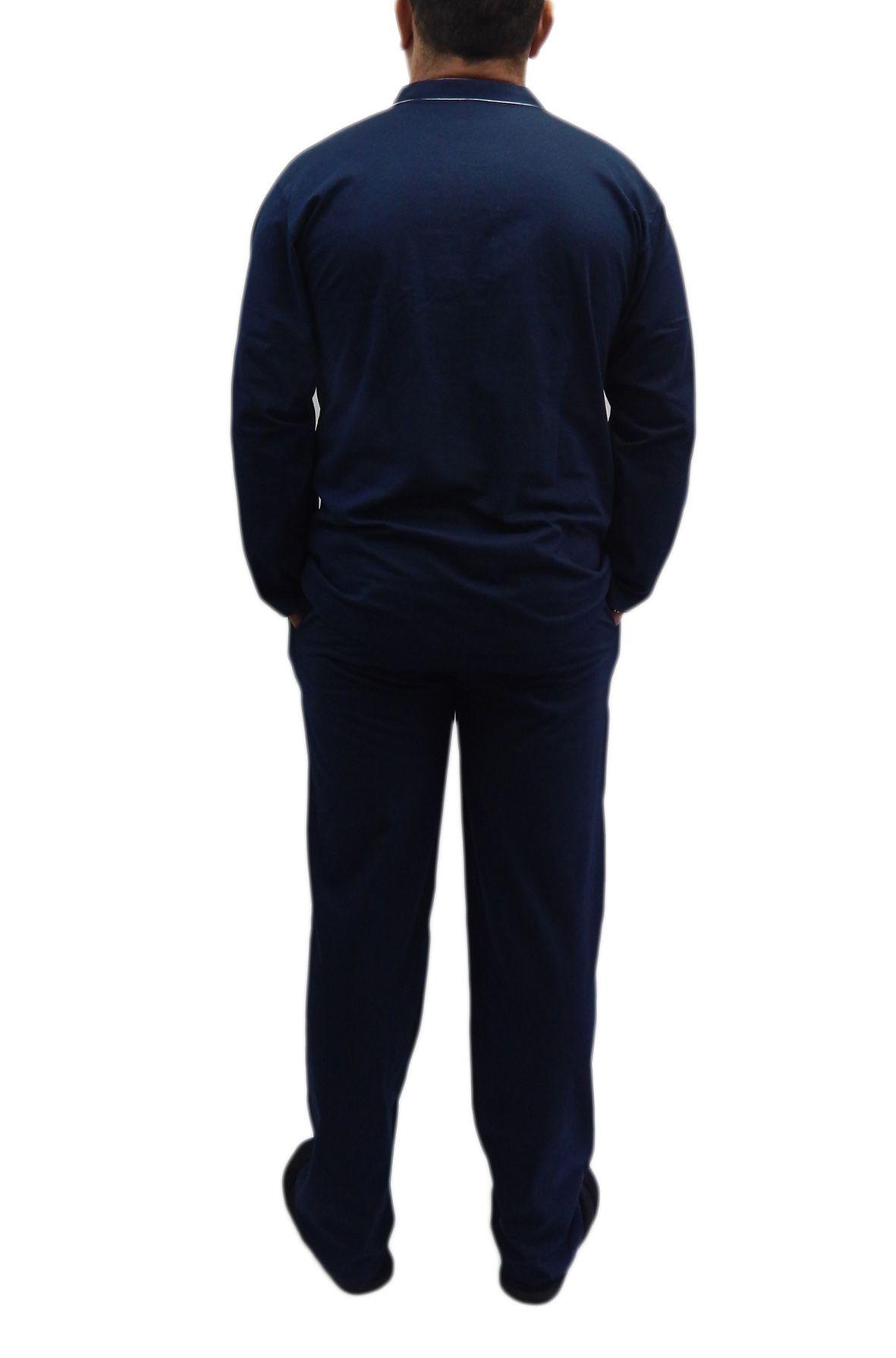 Pijama Masculino Plus Size todo aberto Manga Longa Tamanho 50-54 Foxx 262035