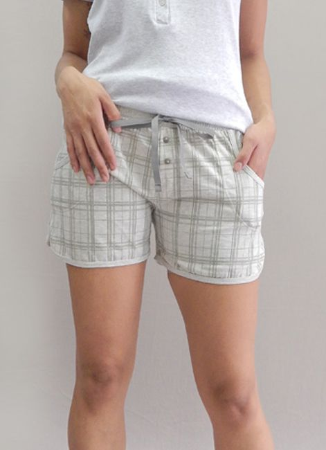 Short Homewear Feminino AvulsoXadrez com Cordão Foxx 262280
