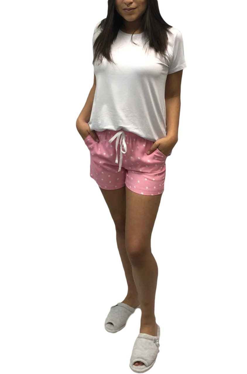Shorts Avulso em Poá estilo Homewear em Viscose Foxx 263294