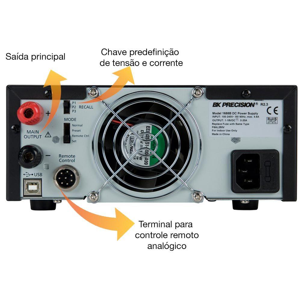 Fonte de alimentação 1-36V e 0-10A com controle remoto