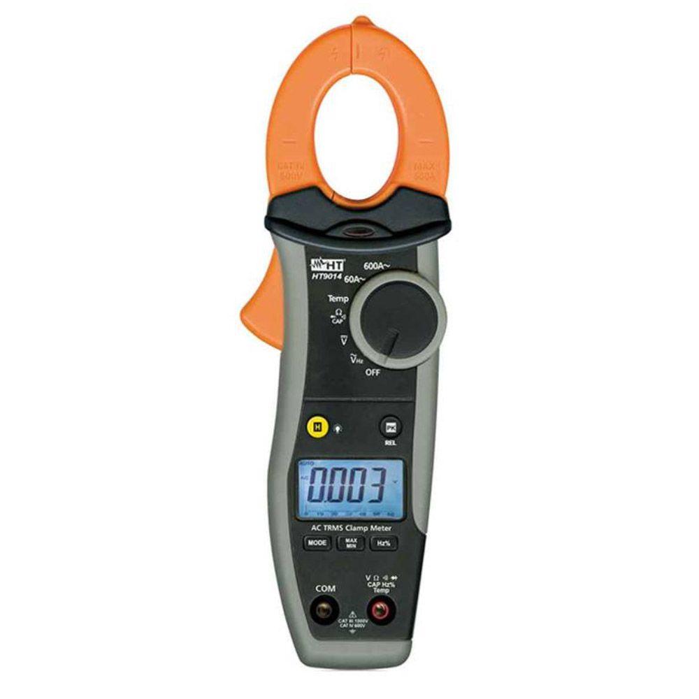 HT9014 Alicate amperímetro True RMS AC 600A com medição de temperatura