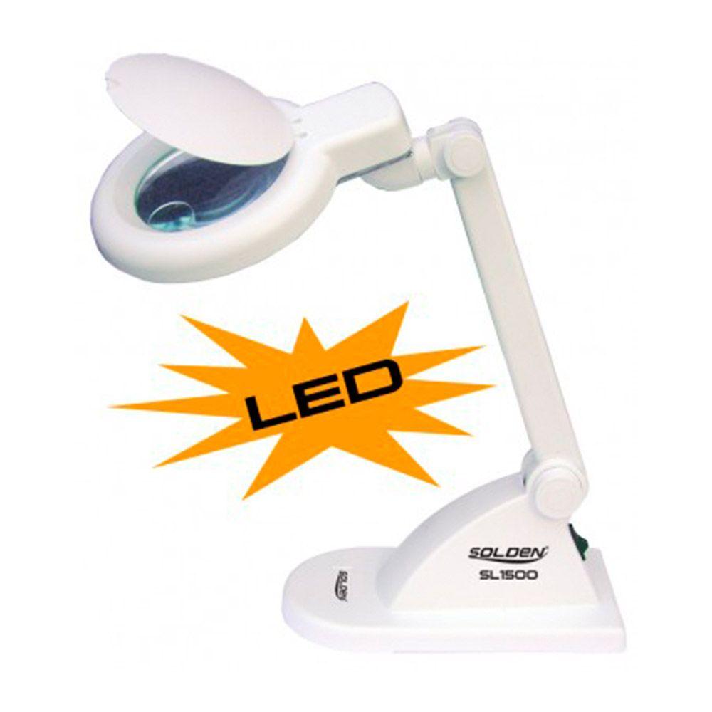 Lupa de mesa com iluminação de 30 LEDs