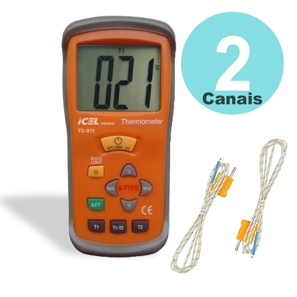Termômetro digital de dois canais e 3 1/2 Dígitos