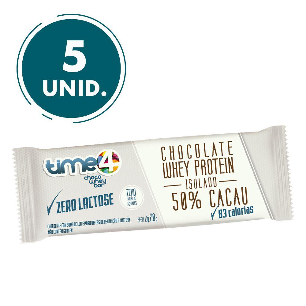 Chocolate Whey Protein 50% Cacau Zero Lactose 5 unidades