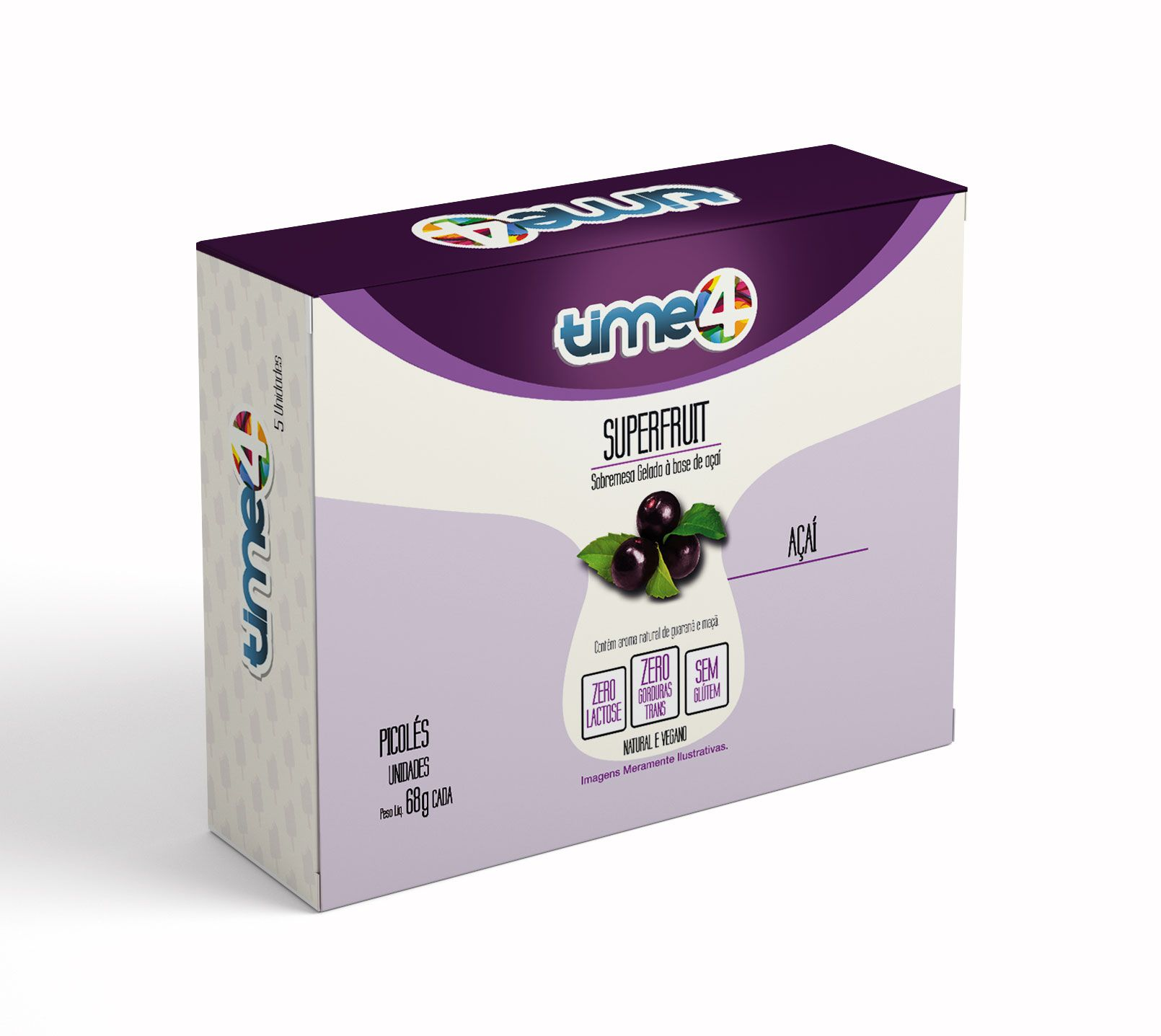 Picolé Supercolor Açaí 5 unidades