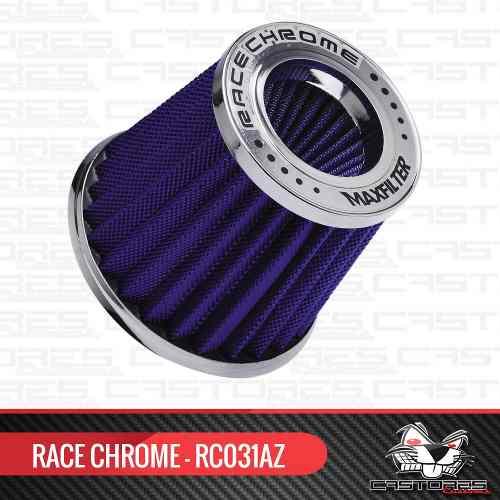Filtro Ar Esportivo Duplo Fluxo Maxifilter Race Chrome Azul